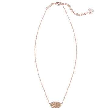 Kendra Scott Elisa Rose Gold Pendant Necklace in Rose Drusy 15 inch w/ 2 inch extender
