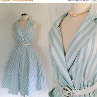 25% OFF aqua blue & white stripe vintage 80s does 50s halter plunging full circle skirt dress // pockets backless lapel collar //size M to L