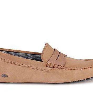 Lacoste Mens Slip On Shoes Concours 18 SRM Light Tan Suede