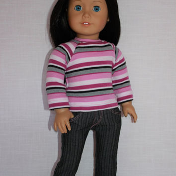 18 inch doll clothes, pink, grey and white stripe shirt, grey pinstripe denim skinny jeans, Upbeat Petites