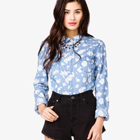 Rosebud Print Denim Shirt