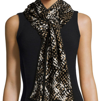 "Chunky Printed Knit Scarf, Black/Brown, Size: 33"", BLACK/BROWN - Diane von Furstenberg"