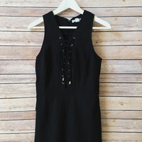 Giselle Lace Up Front Romper (Black)