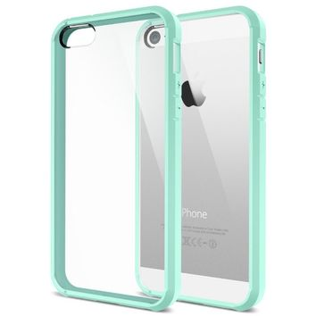 iPhone 5S Case, Spigen® [AIR CUSHION] [+Screen Shield] Apple iPhone 5S Case Bumper ULTRA HYBRID Series [Mint] [1 Premium Japanese Screen Protector + 2 Design Graphics Included] Air Cushioned Bumper Case with Scratch-Resistant Clear Back Panel for iPhone 5S
