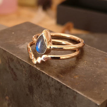 Boho Rings, Gold Ring Set, Unique Gold Rings, Set of Rings, Modern Ring, Organic Gold Ring, Dot Ring, Labradorite Ring, Teardrop Ring, 14k