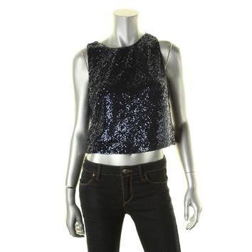 Lauren Ralph Lauren Womens Honor Sequined Stretch Crop Top