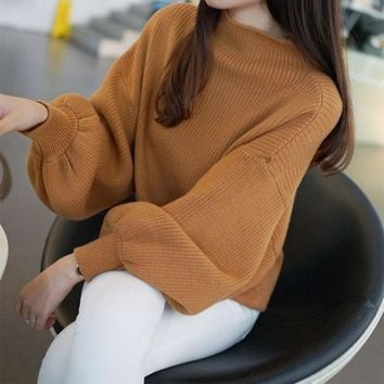 6 Colors Half Turtleneck Fashion Sweater 2018 Autumn Women Lantern Sleeve Sweater Clothes Ladies Fashion Knitted Sweater Tops