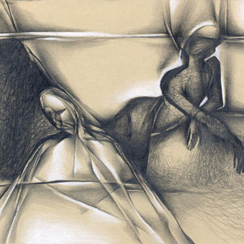 "Contemporary abstract pencil and pastel drawing, ""Thinking"", paper, original"