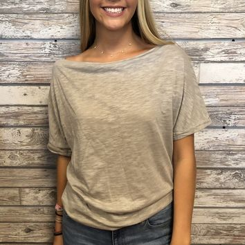 Brunch Date Top- Taupe