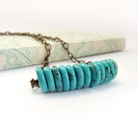 Turquoise Necklace Boho Magnesite Bronze by RockStoneTreasures