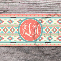 Tribal Aztec Personalized Car Plate - Indie pattern with Soft Teal and Coral, front license plate, monogrammed car tag  - 335