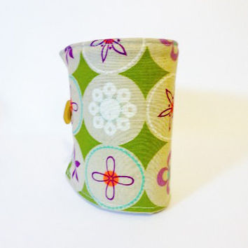 Reusable Coffee Sleeve  Coffee Cozy Japanese Floral Print in Olive and Taupe