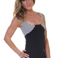 Women's Yoga Inspired Stretch Mesh Lined Wide neckline Tank Top With Built-in Bra