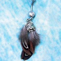 Belly button ring: Native Feathers
