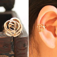 Golden Rose Single Ear Cuff | LilyFair Jewelry