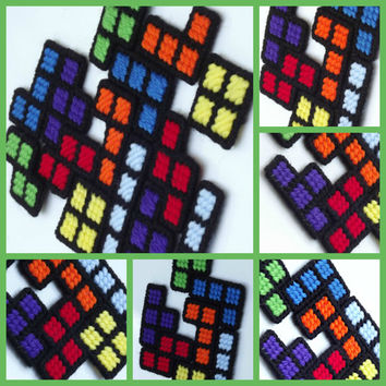 Retro gamer Tetris inspired magnets in a set of 7 shapes made from plastic canvas, pick your choice between two different stiches