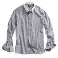 Chambray White Collar Sport Shirt in Grey