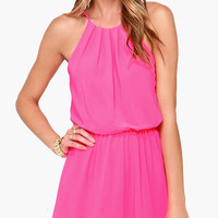 Pink Halterneck with Back Keyhole Romper
