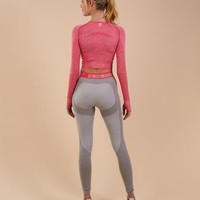 Gymshark Flex Leggings - Light Grey Marl/Sherbet Pink