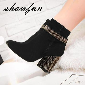 LMFIW1 Genuine Suede Leather Chunky Heel Ankle Boots with Rhinestones