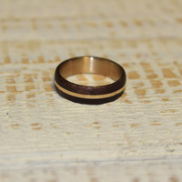 Wood ring for men amaranth wood and bronze ring unisex ring