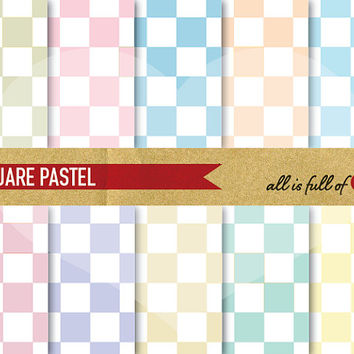 Digital Background Scrapbooking Paper Pack PASTEL SQUARES chess pattern instant download