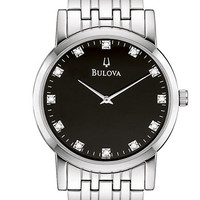Bulova Mens Stainless Steel Diamond Watch