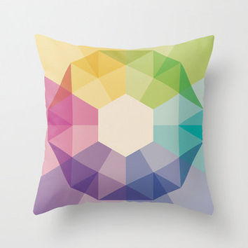 "18""x18"" Colorful Geometric Throw Pillow COVER ONLY"
