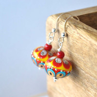 Red and Yellow Earrings, Lampwork Earrings, Glass Earrings, Colorful Earrings