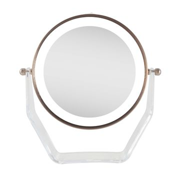 Zadro Next Generation Two-Sided LED Lighted Vanity Swivel Mirror in Acrylic Base with 1X & 8X magnification. Rose Gold.