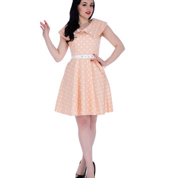 Voodoo Vixen Peach Polka Dot Flare Dress