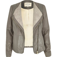 River Island Womens Grey leather collarless biker jacket