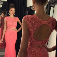 Two Piece Prom Dress,Cap Sleeve Prom Dresses,Evening Dresses