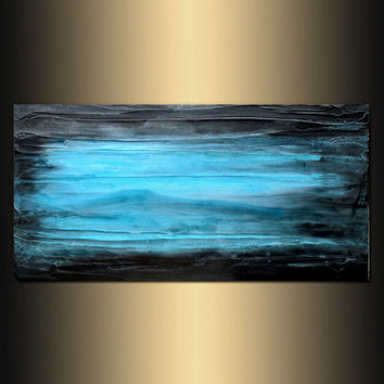 "SALE + FREE SHIP Abstract Wall Art Contemporary art, Painting Original abstract painting textured Painting, Black and Blue "" Legend"""