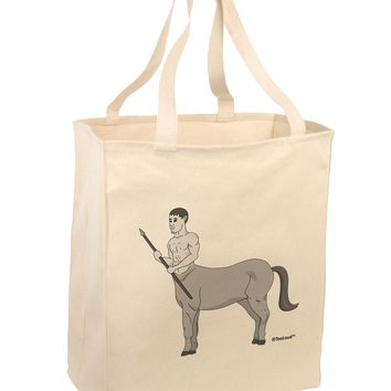 Greek Mythology Centaur Design - Grayscale Large Grocery Tote Bag by TooLoud