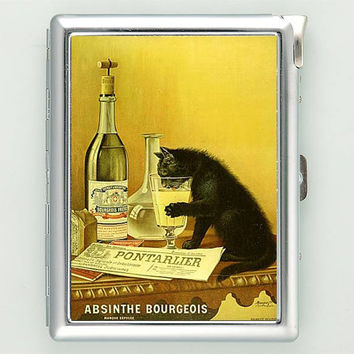Absinthe Bourgeois Black Cat Cigarette Case with Lighter Wallet CGC0863