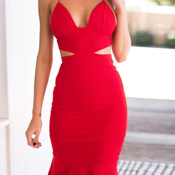 Red Cut-Out Strappy Ruffled Bodycon Mini Dress