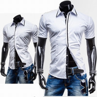 Stripe and Checkered Trim Slim Fit Men's Short Sleeve Shirt