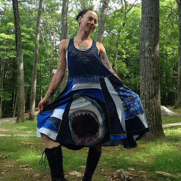 RESERVED RESERVED JAWS shark attack sharks scrappy patchwork sundress tunic blue ooak unique upcycled
