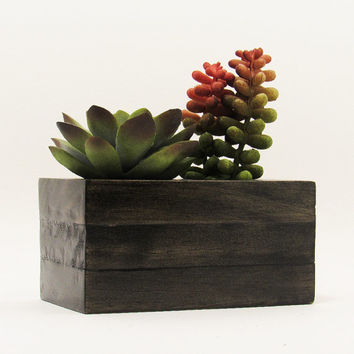 Double Wood Succulent Planter Pot, Modern Plant Holder, Indoor Planter Box, Cactus Planter, Office Planter, Rustic Planter, Home Decor