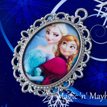 Elsa and Anna - Disney's Frozen - Sisters Forever -  Handcrafted - Pendant - Charm - Cabochon - Necklace