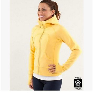 lululemon Scuba Hoodie jog run yoga workout clothes style fashion Yellow