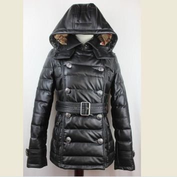 High quality black Jacket Women's Clothing Sheep skin  Hooded double-breasted Slim Sheepskin leather Down leather Ladies down