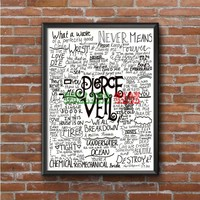 Pierce The Veil (word collage black and white)  Photo Poster 16x20 18x974
