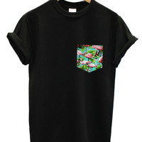 Blue flamingo print pocket black t shirt