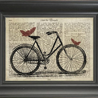 A Bicycle with Butterfly's  - Printed on Bicycle History page  -  250Gram paper.