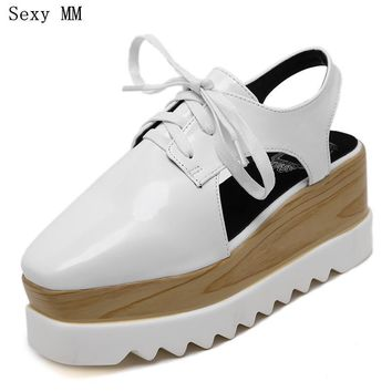 Platform Oxfords Shoes Women Wedges Flats Lace Up Platform Wedge Casual Flat Shoes Plu