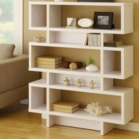 Celio Three-Tier Bookcase / Display Cabinet in Matte White: Furniture & Decor