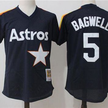 ONETOW Men's Houston Astros Jeff Bagwell Mitchell & Ness Navy Cooperstown Mesh Batting Practice Jersey