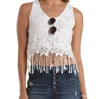 White Floral Lace Fringe Crop Top by Charlotte Russe